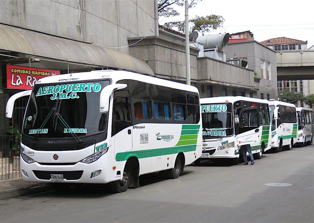 Airport buses behind Nutibara hotel