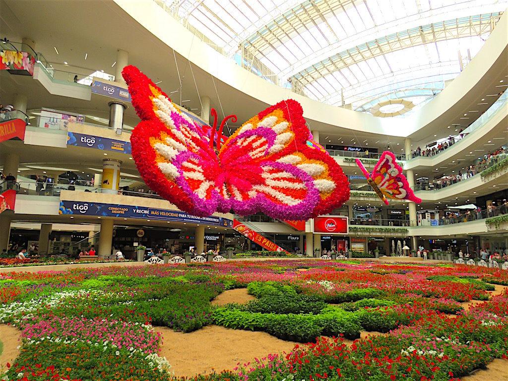 Flower display in Santafé mall for the 2019 Feria de las Flores (Flower Festival)