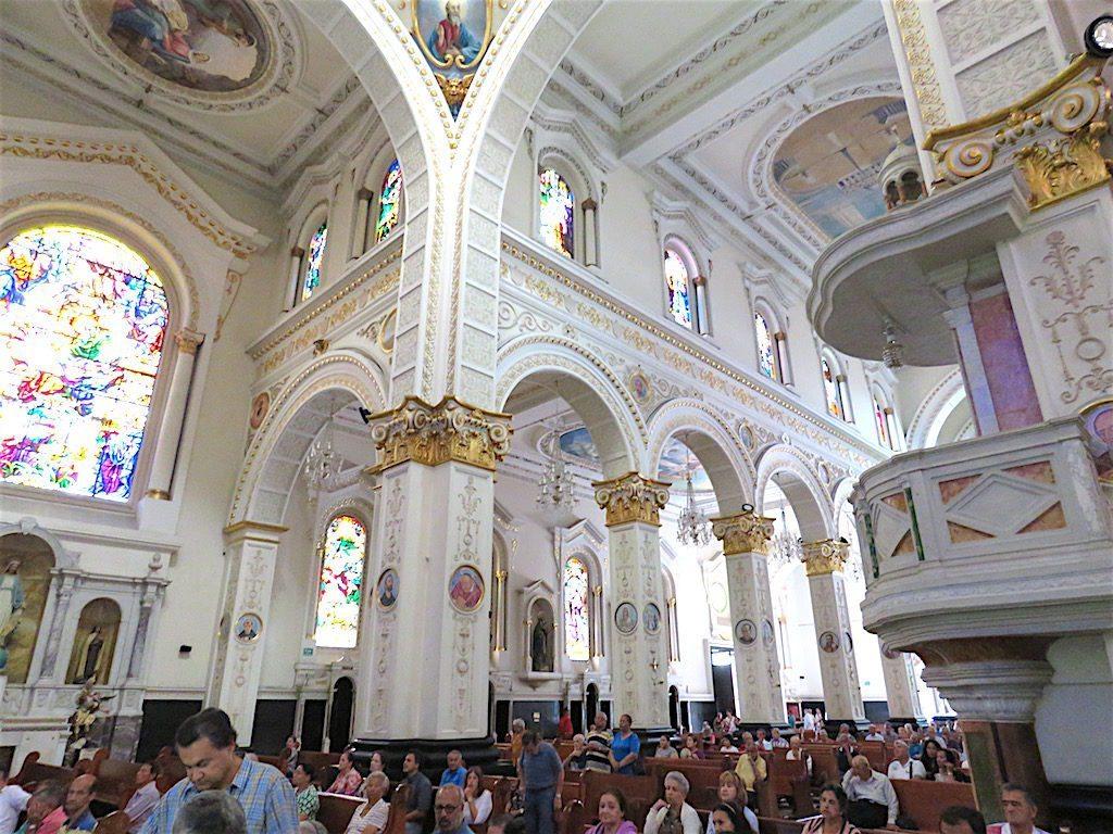 Inside the beautiful church during mass