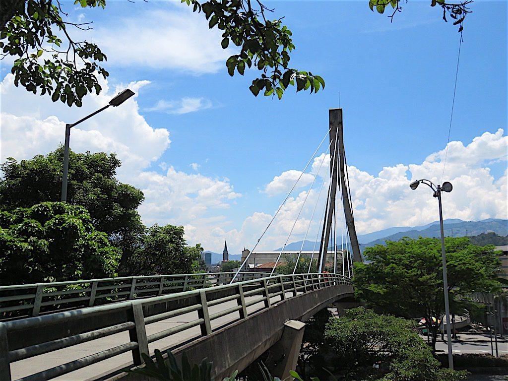 Picturesque pedestrian bridge next to the church that crosses San Juan street
