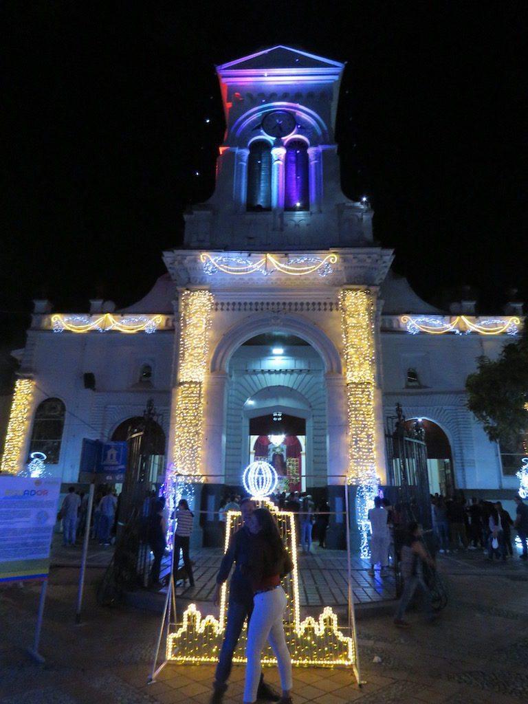 Iglesia de Santa Ana decorated for Christmas at Parque Sabaneta