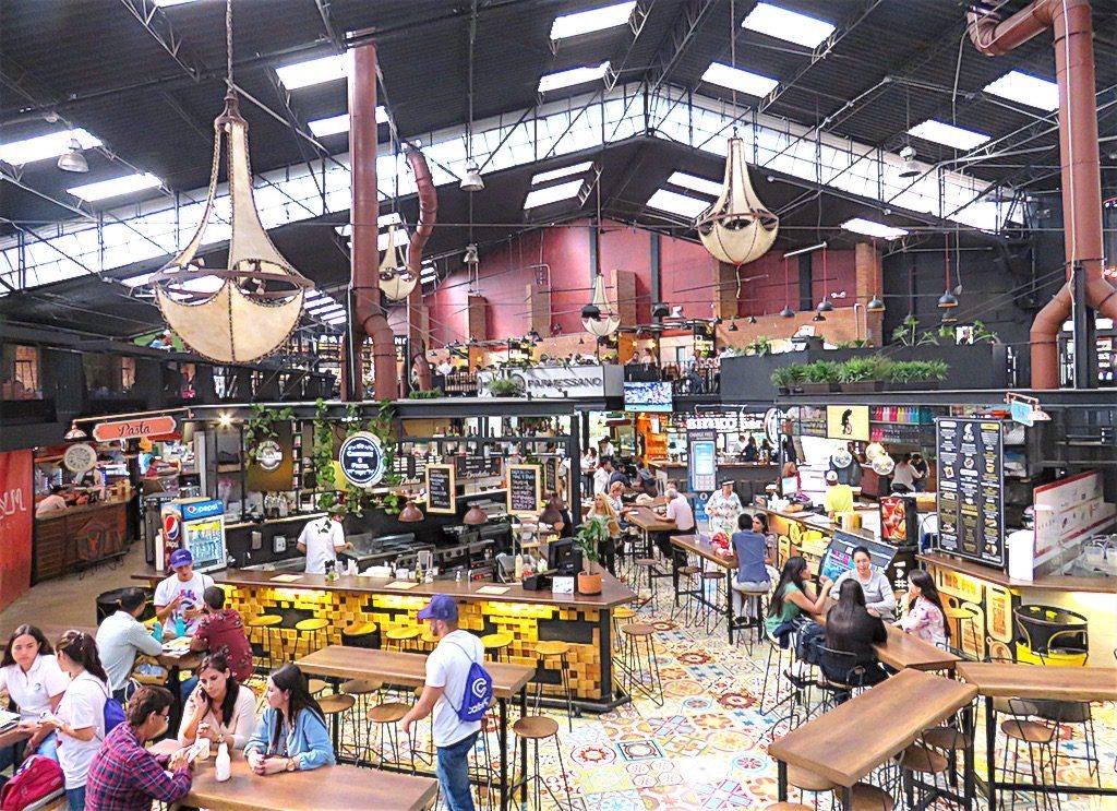 Inside Mercado Del Rio in Medellín
