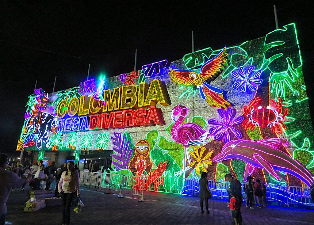 """Entrance to Parque Norte for Alumbrados 2018 - """"Colombia Mega Diversa"""""""