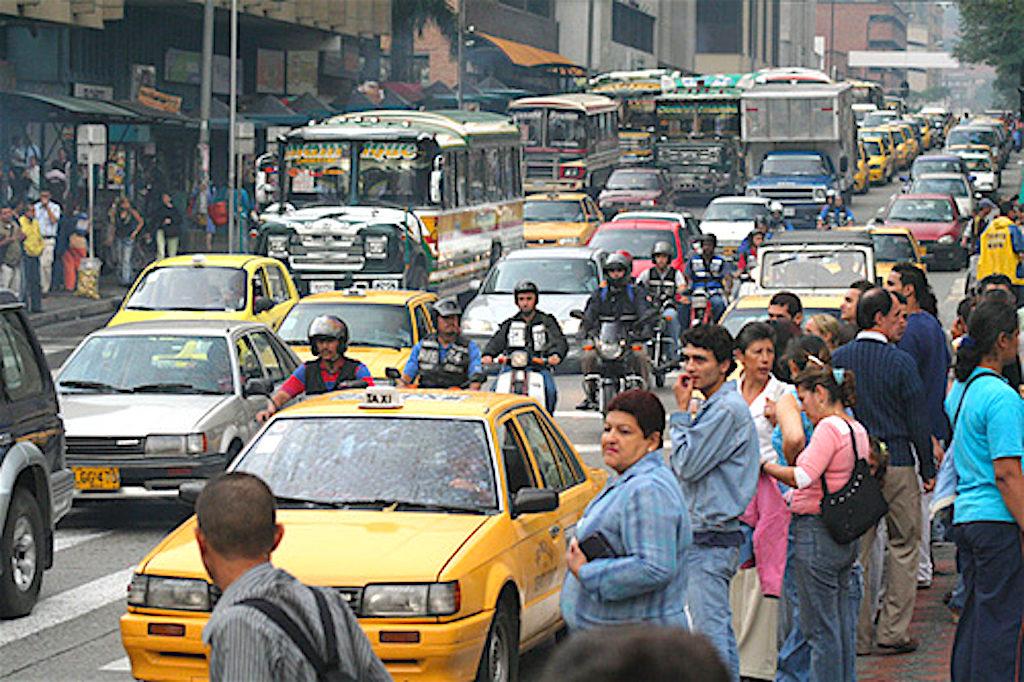 Traffic in El Centro in Medellín, photo by Antonio Jiménez