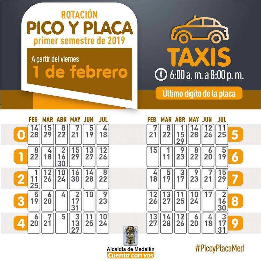 Pico y Placa for taxis, photo courtesy of Secretará de Movilidad de Medellín