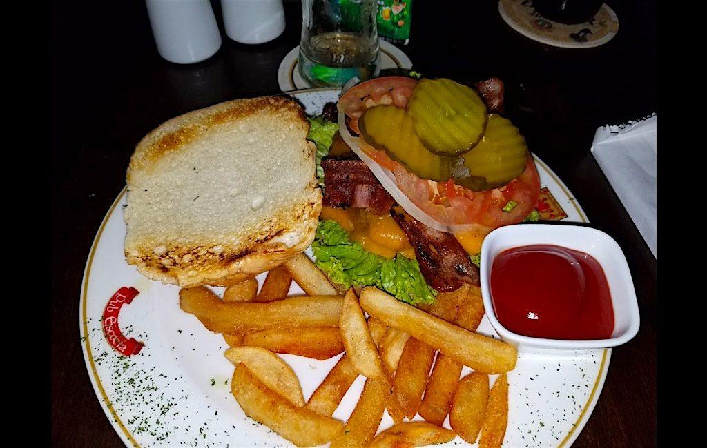 A hamburger at Patrick's