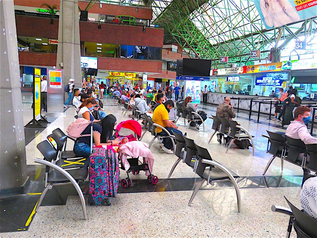 Inside the Terminal Norte bus terminal in Medellin on September 8